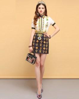 Crystal Beading Elegant Vintage Mini Skirt set