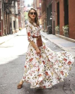 Elegant Sexy Half Sleeve Flowers Printed Maxi Long Dress