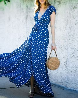 Elegant Short Sleeve Boho Party Dress