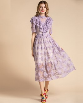 Fashion Runway Solid Ruffles Ruched Floral Mesh Party Lace Dress