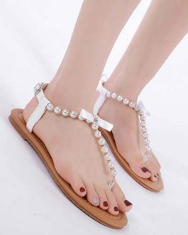 Flat Pearls Chic T-String White Sandals