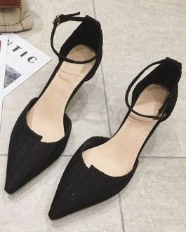 Goblet Heel Sandals Metal Details Chic Slip-On Pointed Toe Vintage Shoes