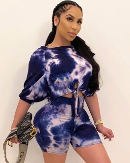 Half Sleeve Sexy Printed O-Neck Tops And Shorts Sporty Two Pieces Suits