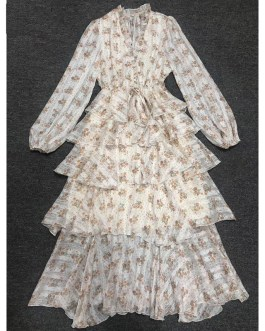 Lantern Sleeve V-Neck Flower Print Tiered Ruffles Cake Dress