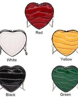 Mini Love Heart Crossbody Bag Leather Chain Lipstick Shoulder Handbag