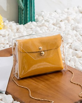 Patent Leather Butterscotch Cross-body Bag – Clear Envelope Gold Strap
