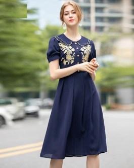 Runway Designer Gold Line Embroidery Short Sleeve Peter Pan Collar Vintage Dress