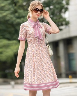 Runway Short Sleeve Geometric Print Elegant Party High Waist Dress