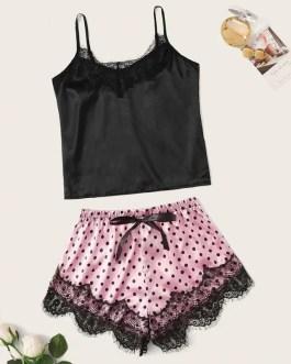 Sexy Satin Silk Lace V-Neck Strap Sleeveless Sleepwear