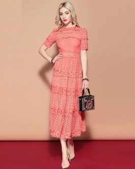 Short Sleeve Solid Floral Hollow out Embroidered Mid Calf Elegant Dress