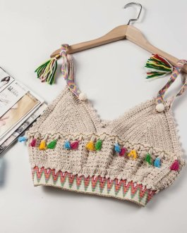 Vintage chic fashion floral embroidery sleeveless crop tops