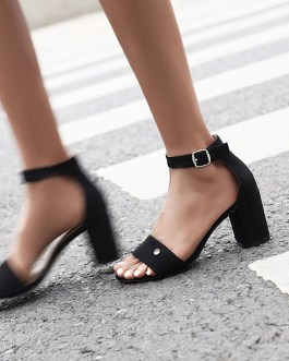 Ankle  One Strip Thick High Heels Sandals
