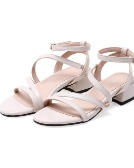 Casual Low Square Heels Pu Sandals