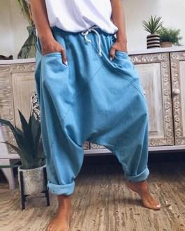 Casual Solid Drawstring Waist Harem Pants