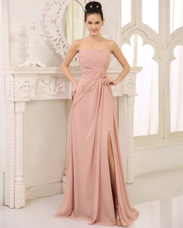 Chiffon Bridesmaid Dress Ruched Prom Dress Strapless Sleeveless High Split Floor Length Wedding Party Dress