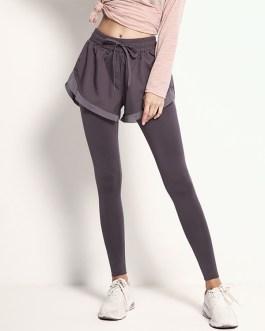 Fake Two-Piece Drawstring Yoga Pants