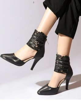 Fashion Ankle Wrap Lace High Heels Sandals