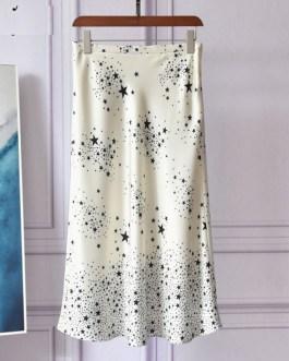 Fashion Designer Star Print High Waist A-Line Midi Skirt