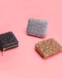 Fashion Sequins  PU Leather  Clutch Zip Card Holder Short Wallet