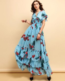 Fruit Printed Ruffles Elegant Holiday Long Dress