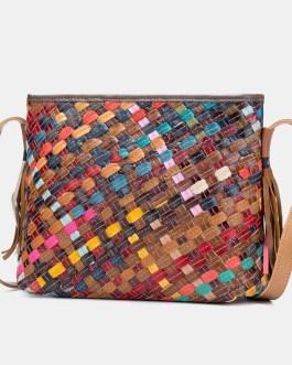 Genuine Leather Weave Tassel Shoulder Bag