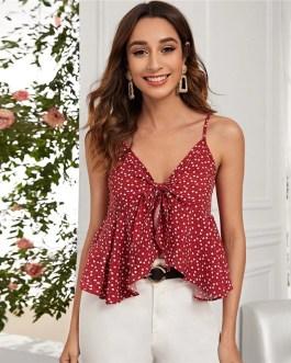 Heart Print Tie Front Crop Cami Top