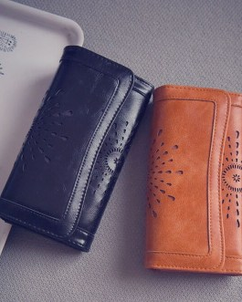 Hot Fashion PU Leather Cute Hollow Out Long Wallet