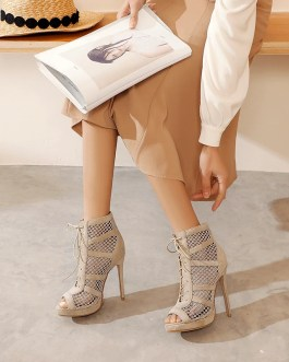 Lace up Stiletto Peep Toe High Heels Shoes