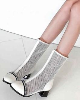Mesh Boots Round Toe Block Heel Boots