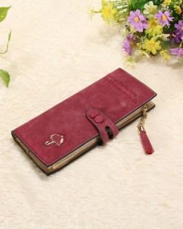 New Fashion Tassle Leather  Zipper Button Card Holder Clutch Wallet