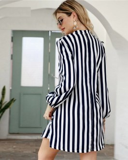 Notched Collar Striped Casual Short Tunic Dresses