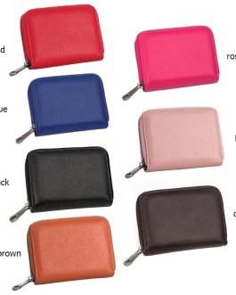 PU Leather Card Holder Unisex Small Zipper Wallet