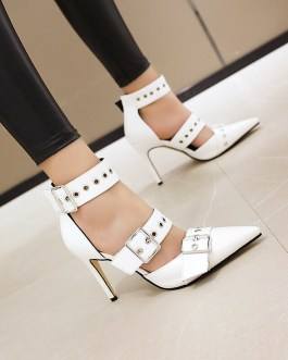 Pointed Toe Buckle Strap Thin High Heels Sandals