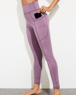 Skinny Ruched Solid Pockets High Waisted Pants