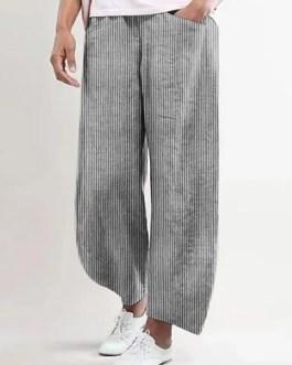 Solid Color Elastic Waist Cotton Casual Pants