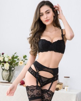 Sexy Embroidery Bra and Panty With Garters 3pcs Sets