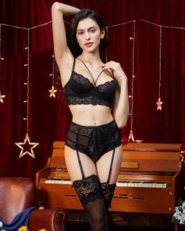 Sexy Bra Unlined Underwear Floral Lace Bra Set