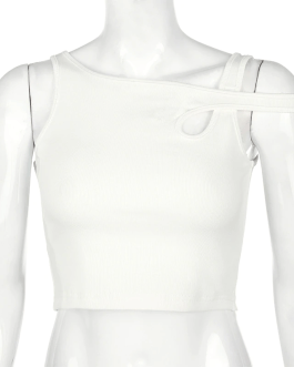 Bandage Hollow Out Ribbed Crop Tops
