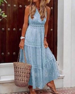 Chiffon Maxi Dresses V Neck Sleeveless Polka Dot Floor Length Dress
