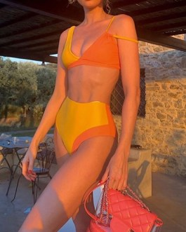 Double Spaghetti Strap and Solid Strap Two Piece Swimsuit