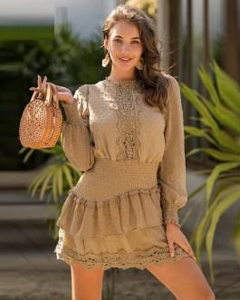 Elegant Embroidery Polka Dot Lace Dress