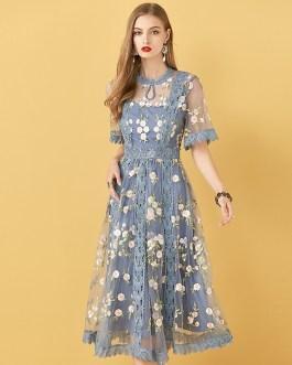 Elegant Flowers Embroidery Party Midi Dresses