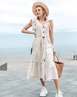 Elegant Ruffle Sleeve V-Neck Striped Long Dress