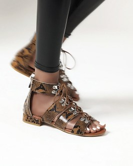 Flat Chunky Lace up Gladiator Sandals