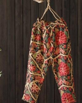 Floral Print Elastic Waist Side Pockets Trousers Pants