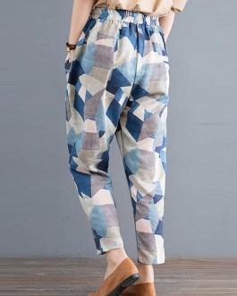 Geometric Printed Elastic High Waist Pants