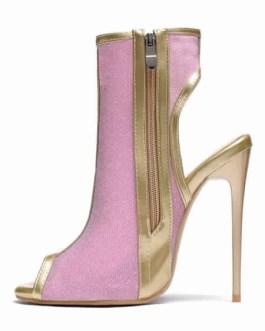 Glitter Boots Backless Peep Toe Stiletto Heel Boots