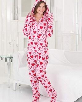 Hoodie Front Zipper Polar Fleece Footed Pajamas