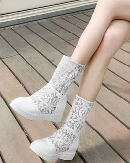 Lace Boots  Daily Casual Wedge Shoes
