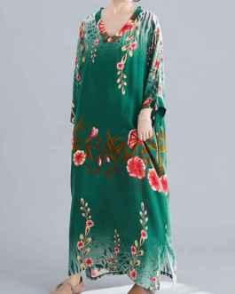 Long Sleeves Floral Print V-Neck Cotton Floor Length Maxi Dress